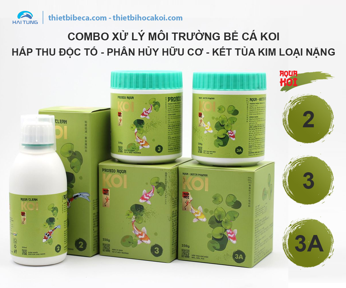 COMBO Xử Lý Môi Trường Bể Cá Koi 2-3-3A AquaKoi