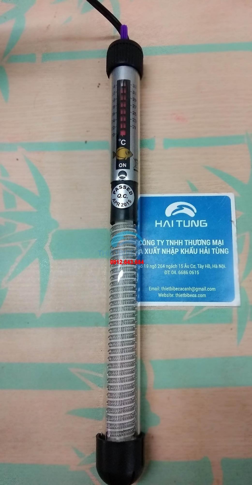 Máy sưởi vỏ thủy tinh 300W dành cho bể 100cm - 120cm