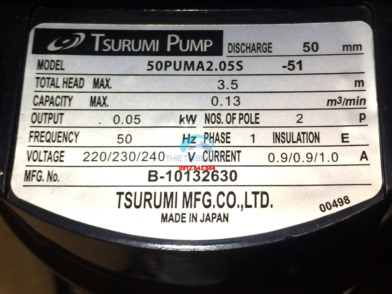 Bơm hồ Koi Tsurumi 7.8m3/h 50w