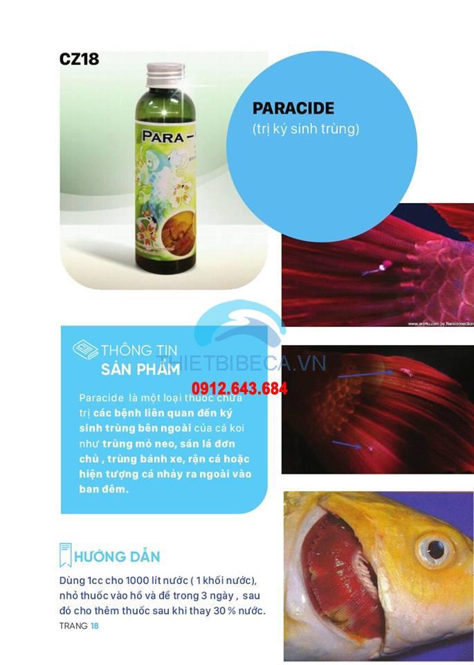 Thuốc trị ký sinh trùng ngoài da cho cá Paracide