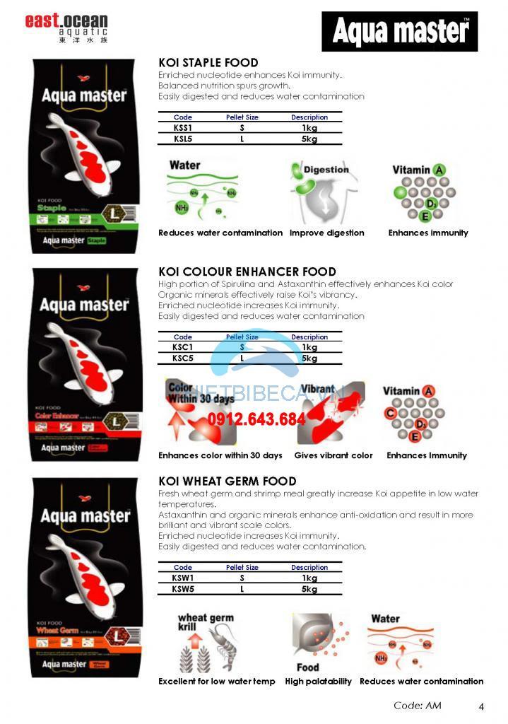 Thức ăn chép Koi Aquamaster lên màu Colour Enhancer 10kg
