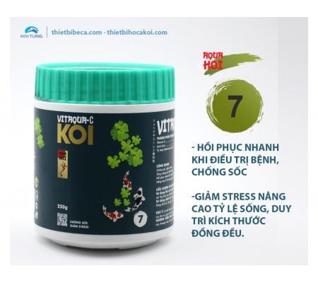 Số 7 Vitamin hỗ trợ điều trị bệnh cá Koi VITAQUA - C, chống sốc, giảm stress (AquaKoi)